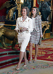 Queen Sofia of Spain and Princess Letizia attend the Royal Palace reception on the National Military Parade.October 12,2012.(ALTERPHOTOS/Pool)
