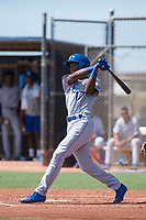 AZL Royals right fielder Isaiah Henry (17) follows through on his swing during an Arizona League game against the AZL Padres 1 at Peoria Sports Complex on July 4, 2018 in Peoria, Arizona. The AZL Royals defeated the AZL Padres 1 5-4. (Zachary Lucy/Four Seam Images)