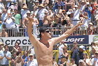 Huntington Beach, CA - 5/6/07:  Jake Gibb  celebrates after scoring during Gibb / Rosenthal's 21-17, 21-18 loss to Lambert / Metzger in the championship match of the AVP Cuervo Gold Crown Huntington Beach Open of the 2007 AVP Crocs Tour..Photo by Carlos Delgado