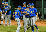 MIDDLETOWN, CT. 06 June 2018-060618BS522 - Seymour's Nick Marchetti (42), left, celebrates with winning pitcher Seymour's Austin DeRosa (21) after their win against St Joseph 8-0 in the CIAC Tournament Class M Semi-Final baseball game between Seymour and St Joseph at Palmer Field on Wednesday evening. Seymour beat St Joseph 8-0 and will play Wolcott for the Class M championship on Saturday. Bill Shettle Republican-American