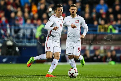 March 26th 2017, Podgorica City Stadium,  Montenegro; World Cup 2018 Internationl football qualification, Montenegro versus Poland;  Robert Lewandowski (POL), Karol Linetty (POL)