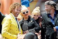 TJ Miller, Christina Aguilera, Anna Faris, Steven Wright at the world premiere for &quot;The Emoji Movie&quot; at the Regency Village Theatre, Westwood. Los Angeles, USA 23 July  2017<br /> Picture: Paul Smith/Featureflash/SilverHub 0208 004 5359 sales@silverhubmedia.com