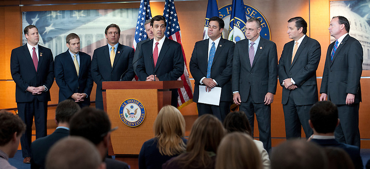 UNITED STATES -Sept 19: Rep. Tom Graves, R-GA., along with other republican members address the news media during a press conference on the continuing resolution. (Photo By Douglas Graham/CQ Roll Call)