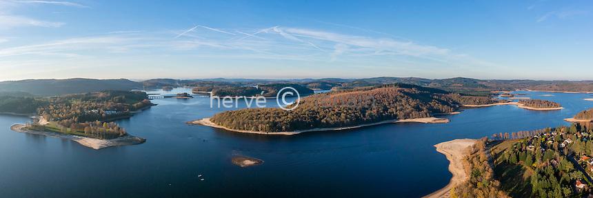 Haute-Vienne (87) et Creuse (23), lac de Vassivière (vue aérienne)