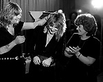 "Receiving 1981 ""Best New Guitarist Award from Guitar Player Magazine--Dec 1981.Ozzy Osbourne, Randy Rhoads, Sharon Osbourne.57-1-22"