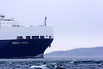 World Trade, MV Green Dale, U.S.-flagged, commercial, roll-on/roll-off ship, entering Puget Sound from the Strait of Juan de Fuca and the Pacific Ocean, bound for Port of Tacoma, off Port Townsend, Washington State, Pacific Northwest, USA,..