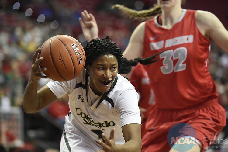 09 MAR 2016: University of New Mexico takes on Colorado State University during the 2016 Mountain West Conference Women's Basketball Championship at the Thomas & Mack Center in Las Vegas, NV. Steve Nowland/NCAA Photos