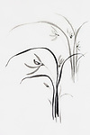 Wild orchids, orchid flowers, Japanese Sumi-e Zen black ink painting on rice paper illustration fine artwork