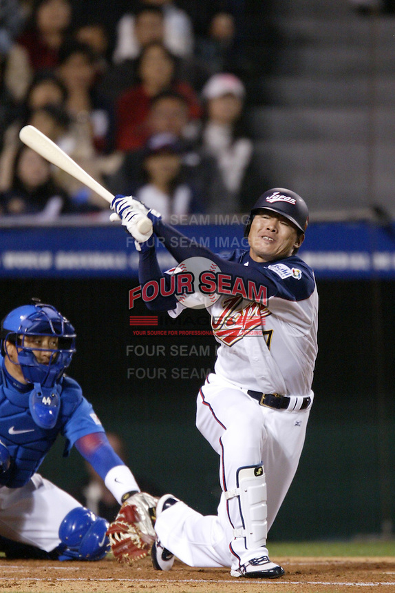 Kosuke Fukudome of Japan during World Baseball Championship at Angel Stadium in Anaheim,California on March 15, 2006. Photo by Larry Goren/Four Seam Images