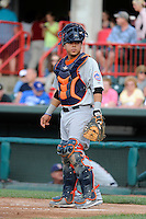 Binghamton Mets catcher Juan Centeno #7 during a game against the Erie Seawolves at Jerry Uht Park on June 23, 2012 in Erie, Pennsylvania.  Erie defeated Binghamton 5-3.  (Mike Janes/Four Seam Images)
