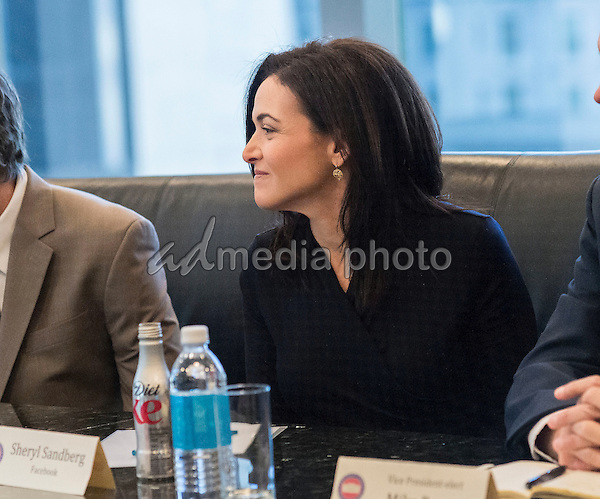 Facebook Chief Operating Officer Sheryl Sandberg is seen at a meeting of technology leaders in the Trump Organization conference room at Trump Tower in New York, NY, USA on December 14, 2016. Photo Credit: Albin Lohr-Jones/CNP/AdMedia