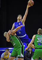 Rob Loe (Saints) takes a rebound over Taane Samuel (Jets) during the national basketball league match between Cigna Wellington Saints and Manawatu Jets at TSB Bank Arena in Wellington, New Zealand on Sunday, 30 June 2019. Photo: Dave Lintott / lintottphoto.co.nz