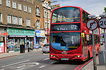 Red double-decker Abellio 172 bus, New Cross Road, Deptford, south London, England, UK destination St Paul\s