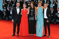 Massimiliano Gallo, Elisabetta Mirra, Daria D'Isanto, Valeria Golino and Edoardo Cro attend the red carpet for the premiere of the movie 'Per Amor Vostro' during the 72nd Venice Film Festival at the Palazzo Del Cinema in Venice, Italy, September 11, 2015.<br /> UPDATE IMAGES PRESS/Stephen Richie