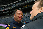 21 November 2009: Galaxy head coach Bruce Arena (left) with Seattle Sounders FC owner Drew Carey. The Los Angeles Galaxy held a training session at Qwest Field in Seattle, Washington in preparation for playing Real Salt Lake in Major League Soccer's championship game, MLS Cup 2009, the following day.