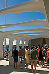 Tourists at the USS Arizona Memorial, Pearl Harbor, Oahu, Hawaii