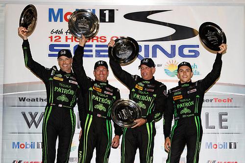 16-19 March, 2016, Sebring, Florida, USA<br /> , 2, Honda HPD, Ligier JS P2, P, Scott Sharp, Ed Brown, Joannes van Overbeek, Luis Felipe Derani, podium<br /> ©2016, Michael L. Levitt<br /> LAT Photo USA