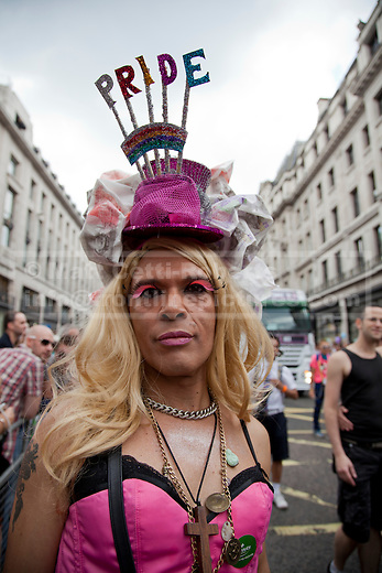 LONDON, UK  02/07/11. Revellers enjoy London's Pride March. 21 floats and around a million people flocked to Central London for the festival which celebrates the diversity within the LBGT (lesbian, gay, bisexual and transgender) community. Photo credit should read Matt Cetti-Roberts
