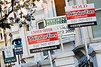 For Sale, Under Offer and Sold signs, West Hampstead, London, UK