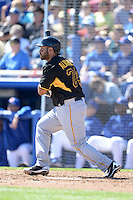 Third baseman Pedro Alvarez (24) of the Pittsburgh Pirates during a spring training game against the Toronto Blue Jays on February 28, 2014 at Florida Auto Exchange Stadium in Dunedin, Florida.  Toronto defeated Pittsburgh 4-2.  (Mike Janes/Four Seam Images)
