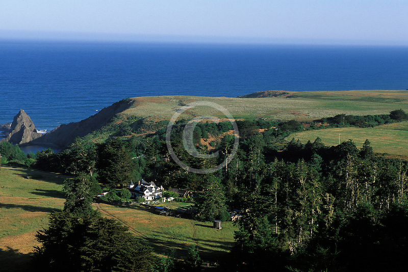 California, Mendocino County, Manchester, Inn at Victorian Gardens and coastline