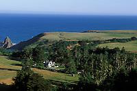 California, Mendocino County, Manchester, Inn at Victorian Gardens and coastline