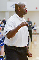 NWA Democrat-Gazette/CHARLIE KAIJO Rogers High School head coach Lamont Frazier calls out to his players during a basketball game, Friday, January 11, 2019 at Wolverine Arena at Bentonville West in Centerton.