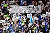 Signs in the arena as Hillary Clinton, the Democratic Party nominee for President of the United States, delivers her acceptance speech during the fourth session of the 2016 Democratic National Convention at the Wells Fargo Center in Philadelphia, Pennsylvania on Thursday, July 28, 2016.<br /> Credit: Ron Sachs / CNP<br /> (RESTRICTION: NO New York or New Jersey Newspapers or newspapers within a 75 mile radius of New York City)