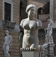 Fontana Pretoria (Fountain of Pretoria, Pretoria Fountain), 1552 - 1555, by Florentine sculptor Francesco Camilliani (1530 - 1586), Palermo, Sicily, Italy. Picture by Manuel Cohen