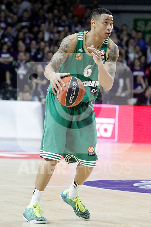 Panathinaikos Athens' A.J. Slaughter during Euroleague match.January 22,2015. (ALTERPHOTOS/Acero)