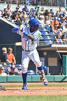Myles Jones (30) of the Hartford Yard Goats bats during a game against the Binghamton Rumble Ponies at Dunkin Donuts Park on May 9, 2018 in Hartford, Connecticut.<br /> (Gregory Vasil/Four Seam Images)