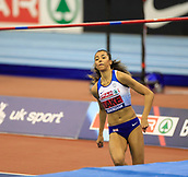 10th February 2019, Arena Birmingham, Birmingham, England; Spar British Athletics Indoor Championships; Morgan Lake on her way to winning the women's high jump gold medal during Day Two of the Spar Indoor Athletics Championships at Birmingham Arena