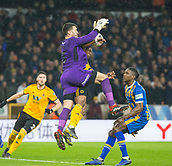 5th February 2019, Molineux Stadium, Wolverhampton, England; FA Cup football, 4th round replay, Wolverhampton Wanderers versus Shrewsbury Town; Ivan Cavaleiro of Wolverhampton Wanderers jumps up to head the ball as Shrewsbury Town Goalkeeper Steve Arnold attempts a catch but misses leading to the equalising goal scored by Matt Doherty of Wolverhampton Wanderers in the 51st minute 2-2