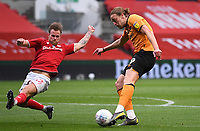 8th July 2020; Ashton Gate Stadium, Bristol, England; English Football League Championship Football, Bristol City versus Hull City; Tomas Kalas of Bristol City lunges to block the shot from Tom Eaves of Hull City