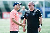 Boston, MA - Saturday June 24, 2017: Paul Riley and Paul McHugh, Assistant Coach during a regular season National Women's Soccer League (NWSL) match between the Boston Breakers and the North Carolina Courage at Jordan Field.