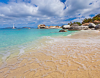 Virgin Gorda, British Virgin Islands, Caribbean <br /> Morning light on the beach at Spring Bay, Spring Bay National Park