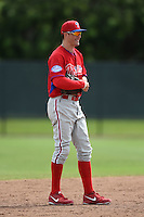 Philadelphia Phillies Tyler Greene (27) during a minor league spring training intrasquad game on March 27, 2015 at the Carpenter Complex in Clearwater, Florida.  (Mike Janes/Four Seam Images)