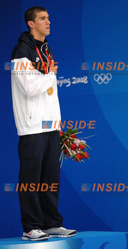 Michael Phelps 200 metri stile libero, medaglia d'oro e record del mondo.<br /> 200M Freestyle, Gold medal and new world record<br /> National Aquatics Centre<br /> Pechino - Beijing 12/8/2008 Olimpiadi 2008 Olympic Games<br /> Foto Andrea Staccioli Insidefoto