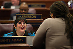 Nevada Assembly Democrats Irene Bustamante Adams, left, and Dina Neal talk on the Assembly floor at the Legislative Building in Carson City, Nev., on Monday, April 22, 2013. .Photo by Cathleen Allison