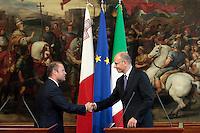 Joseph Muscat ed Enrico Letta<br /> Roma 15/07/2013 Palazzo Chigi. Incontro tra il Presidente del Consiglio dei Ministri ed il Primo Ministro di Malta.<br /> Photo Samantha Zucchi Insidefoto