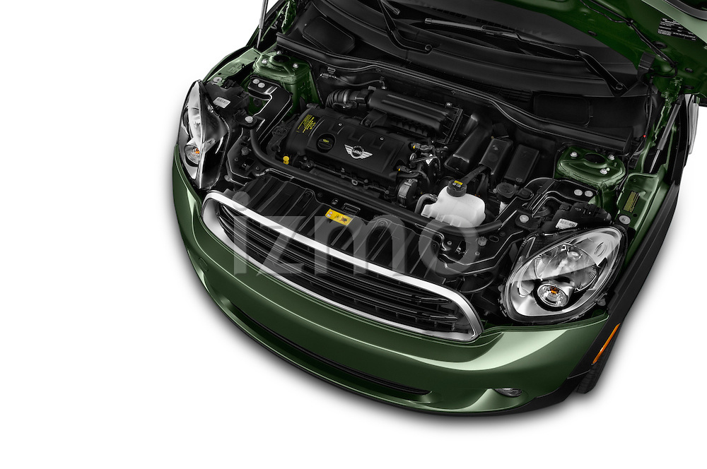 Car Stock 2015 MINI Countryman Base 4 Door Hatchback Engine high angle detail view
