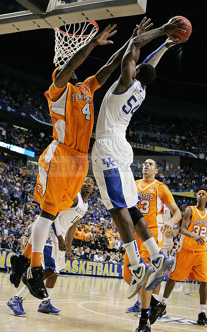 Junior forward Patrick Patterson takes a shot in the second half of UK's 74-45 win over Tennessee at Bridgestone Arena in Nashville, TN during the SEC Semifinals on Saturday, March 13, 2010. Photo by Britney McIntosh | Staff