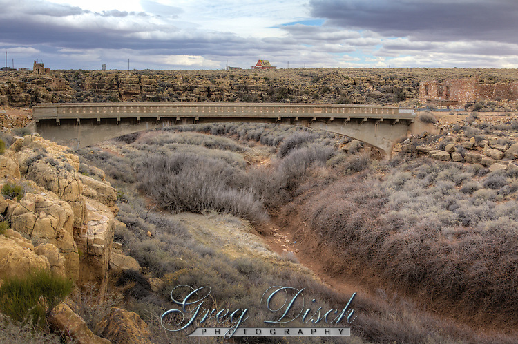 Old Route 66 Bridge crosses Canyon Diablo  at the Ghost Town of Two Guns Arizona. Two Guns Arizona is a ghost town on Route 66, with a long and violent history.  During the hey day of Route 66  Two Guns was a prime example of a tourist trap and even had a zoo with mountain lions.