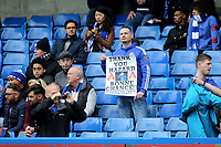 A Chelsea fan with a banner saying Thank You Eden Hazard during Chelsea vs Watford, Premier League Football at Stamford Bridge on 5th May 2019