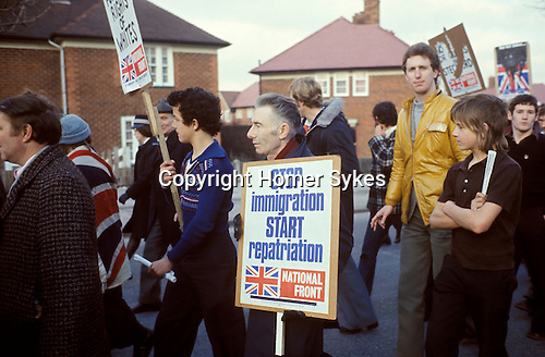 NATIONAL FRONT  MARCH STECHFORD WEST MIDLANDS STOP IMMIGRATION START REPATRIATION BANNER  1970's