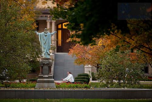 Oct. 25, 2011; Jesus statue near the Main Building..Photo by Matt Cashore/University of Notre Dame