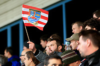 A Kingstonian fans flag during Macclesfield Town vs Kingstonian, Emirates FA Cup Football at the Moss Rose Stadium on 10th November 2019