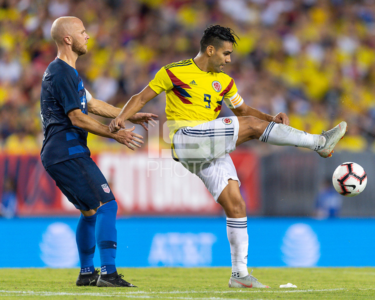 Tampa, FL - Thursday, October 11, 2018: Michael Bradley, Radamel Falcao during a USMNT match against Colombia.  Colombia defeated the USMNT 4-2.