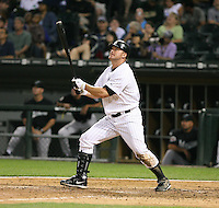Jim Thome of the Chicago White Sox connects on a homerun vs. the Florida Marlins: June 19th, 2007 at Wrigley Field in Chicago, IL.  Photo by Mike Janes/Four Seam Images
