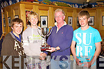 At the Inter Club Inter Club Regatta held in Cahersiveen at the Weekend the winners of the  E & D Perpetual Trophy went to the Tralee Bay Sailing Club, pictured here at the presentation in the Ring of Kerry Hotel, Cahersiveen were l-r; Liam Lynch, Michael Magowan, Gerry Enright(Atlantic S.C. making the presentation) & Tadhg O? Loingsigh